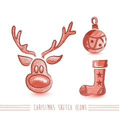 Merry Christmas sketch style elements set EPS10 vector image