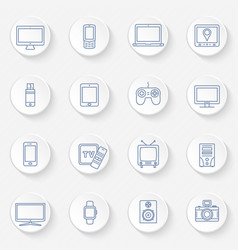 modern technology devices icons set vector image
