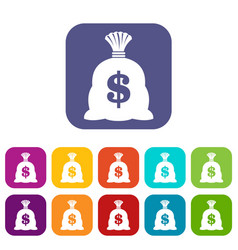 Money bag with us dollar sign icons set vector