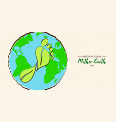 mother earth day card of green carbon footprint vector image
