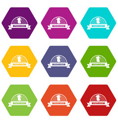 mushroom cooking icons set 9 vector image