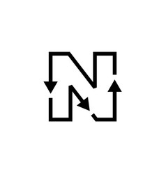N letter recycle logo icon vector