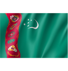 National flag of turkmenistan republic vector