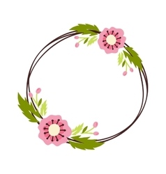 Nature flowers wreath with flowers decoration vector image