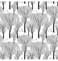 nature seamless pattern forest background trees vector image