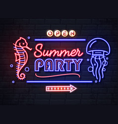 neon sign summer party with sea horse vector image