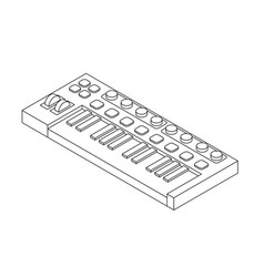 outline isometric synthesizer musical equipment vector image