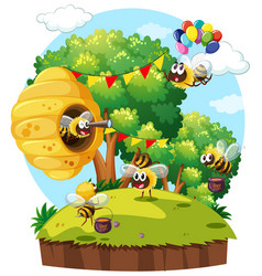 Park scene with bees flying vector
