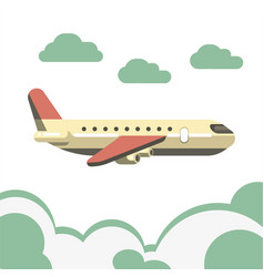 Passenger airplane isolated over azure clouds vector