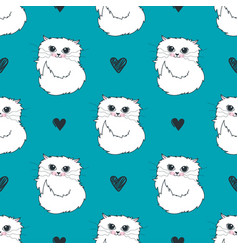 pattern with cute white cats and hearts vector image