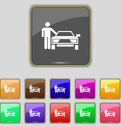 person up hailing a taxi icon sign Set with eleven vector image