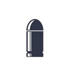 Pistol bullet on white vector
