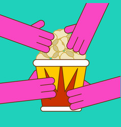 popcorn and hand paper box popped corn vector image