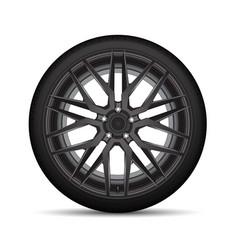Realistic black alloy car wheel tire vector