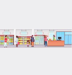 Retail woman cashier at checkout supermarket mix vector