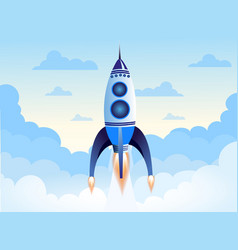rocket flying above clouds vector image