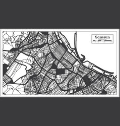 Samsun turkey city map in black and white color vector
