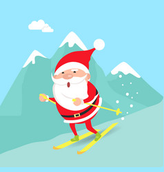 Santa claus moving down from mountains winter vector