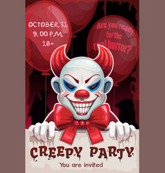 Scary angry evil clown with paper banner in the vector