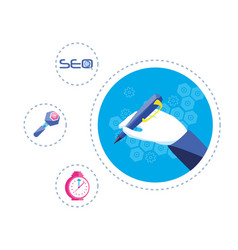 search engine optimization with hands writing vector image
