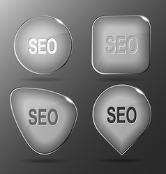 Seo Glass buttons vector image