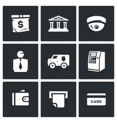 set banking services icons money bag vector image