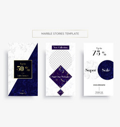 set marble stories template three banners vector image
