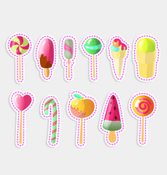 Set of bright candies ice creams set of vector