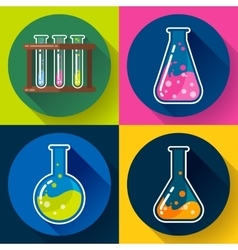 Set of Chemical lab flasks icons Flat design vector image
