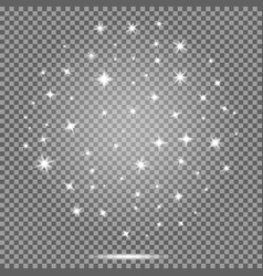 set of starswhite flares effect on transparent vector image