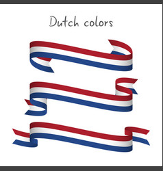set of three ribbons with the dutch tricolor vector image