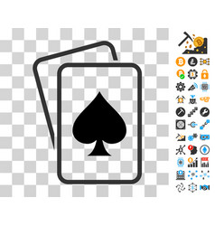 spade gambling cards icon with bonus vector image