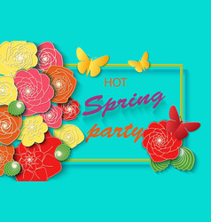 spring time party background with colorful flowers vector image