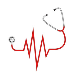 Stethoscope in shape cardiograph vector