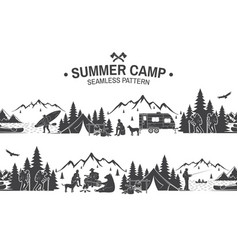 Summer camp seamless pattern vector