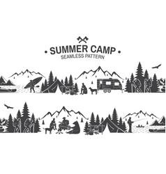 Summer camp seamless pattern vector