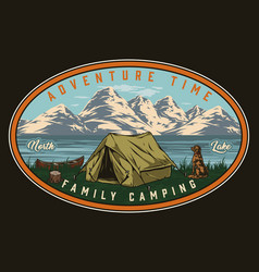 Summer camping vintage colorful badge vector