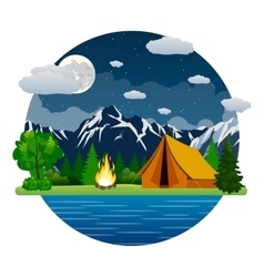 Summer landscape tent and bonfire vector image