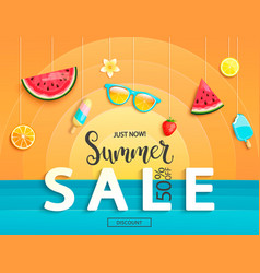 summer sale banner with fruits vector image