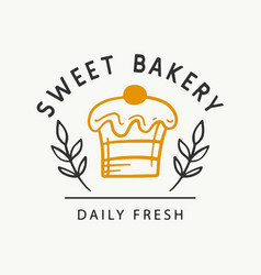 sweet bakery logotype template badge label vector image