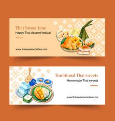 Thai sweet banner design with various dessertss vector