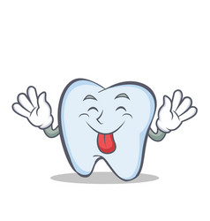 tongue out tooth character cartoon style vector image