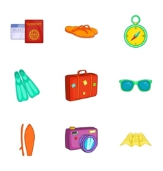 Tourism at sea icons set cartoon style vector image