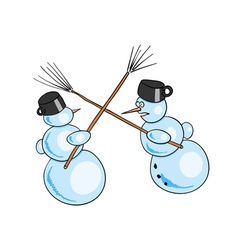 two snowman fighted by besoms vector image