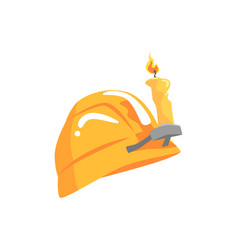 Vintage orange miners helmet mining industry vector