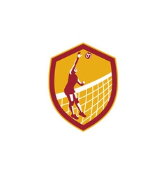 Volleyball Player Spike Ball Net Retro Shield vector image