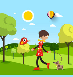 Woman with dog in park natural scene with animals vector