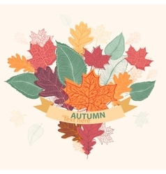 Bouquet of autumn colorful leaves tied with ribbon vector image