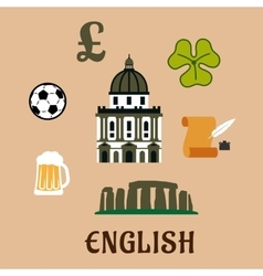 Great britain historical and cultural icons vector