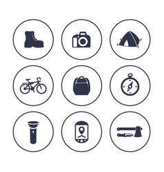 hiking camping icons in circles over white vector image